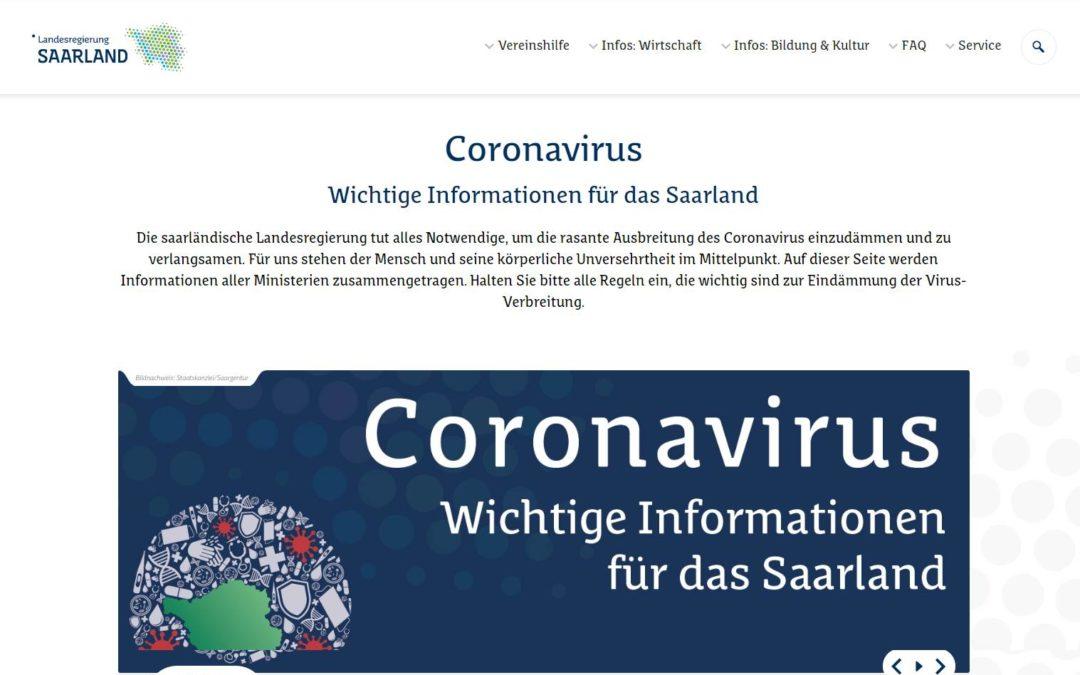 Landesregierung Saarland: Coronavirus Wichtige Informationen für das Saarland